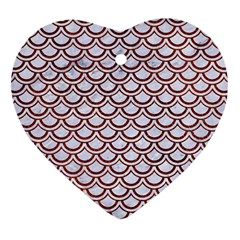 Scales2 White Marble & Reddish Brown Leather (r) Heart Ornament (two Sides) by trendistuff