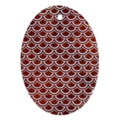 Scales2 White Marble & Reddish Brown Leather Ornament (oval)