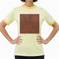 Scales2 White Marble & Reddish Brown Leather Women s Fitted Ringer T Shirts