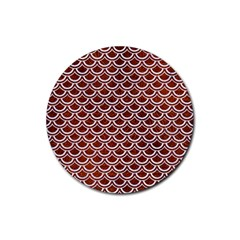 Scales2 White Marble & Reddish Brown Leather Rubber Round Coaster (4 Pack)  by trendistuff