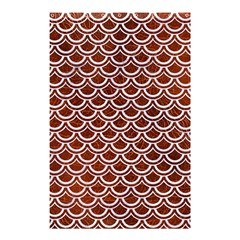 Scales2 White Marble & Reddish Brown Leather Shower Curtain 48  X 72  (small)  by trendistuff