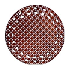 Scales2 White Marble & Reddish Brown Leather Round Filigree Ornament (two Sides) by trendistuff