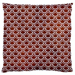 Scales2 White Marble & Reddish Brown Leather Large Flano Cushion Case (one Side) by trendistuff