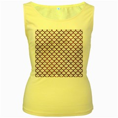 Scales1 White Marble & Reddish Brown Leather (r) Women s Yellow Tank Top