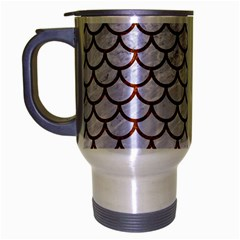 Scales1 White Marble & Reddish Brown Leather (r) Travel Mug (silver Gray) by trendistuff