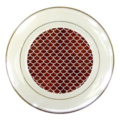 Scales1 White Marble & Reddish Brown Leather Porcelain Plates by trendistuff