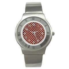 Scales1 White Marble & Reddish Brown Leather Stainless Steel Watch by trendistuff