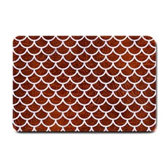 Scales1 White Marble & Reddish Brown Leather Small Doormat  by trendistuff