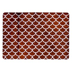 Scales1 White Marble & Reddish Brown Leather Samsung Galaxy Tab 10 1  P7500 Flip Case by trendistuff