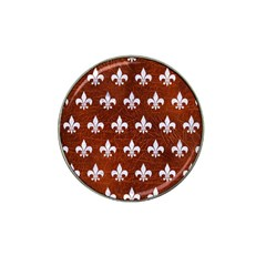 Royal1 White Marble & Reddish Brown Leather (r) Hat Clip Ball Marker by trendistuff