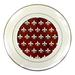 Royal1 White Marble & Reddish Brown Leather (r) Porcelain Plates by trendistuff