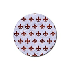 Royal1 White Marble & Reddish Brown Leather Rubber Round Coaster (4 Pack)  by trendistuff