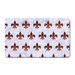 Royal1 White Marble & Reddish Brown Leather Magnet (rectangular) by trendistuff