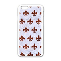 Royal1 White Marble & Reddish Brown Leather Apple Iphone 6/6s White Enamel Case by trendistuff