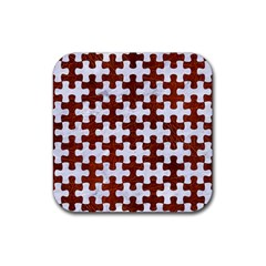 Puzzle1 White Marble & Reddish Brown Leather Rubber Square Coaster (4 Pack)  by trendistuff