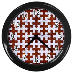 Puzzle1 White Marble & Reddish Brown Leather Wall Clocks (black) by trendistuff