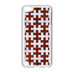 Puzzle1 White Marble & Reddish Brown Leather Apple Ipod Touch 5 Case (white)