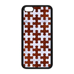 Puzzle1 White Marble & Reddish Brown Leather Apple Iphone 5c Seamless Case (black) by trendistuff