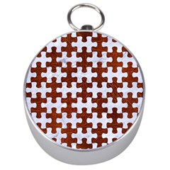 Puzzle1 White Marble & Reddish Brown Leather Silver Compasses by trendistuff
