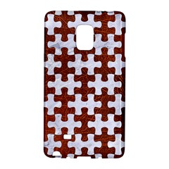 Puzzle1 White Marble & Reddish Brown Leather Galaxy Note Edge by trendistuff