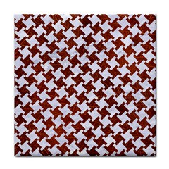 Houndstooth2 White Marble & Reddish Brown Leather Tile Coasters by trendistuff