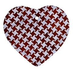 Houndstooth2 White Marble & Reddish Brown Leather Ornament (heart) by trendistuff