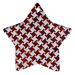 Houndstooth2 White Marble & Reddish Brown Leather Ornament (star) by trendistuff