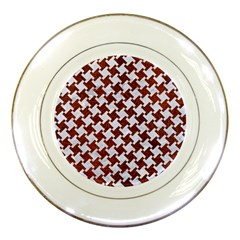 Houndstooth2 White Marble & Reddish Brown Leather Porcelain Plates by trendistuff