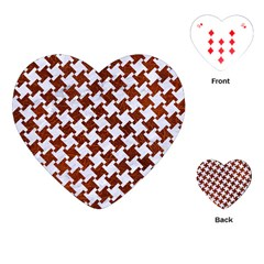 Houndstooth2 White Marble & Reddish Brown Leather Playing Cards (heart)  by trendistuff