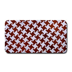 Houndstooth2 White Marble & Reddish Brown Leather Medium Bar Mats