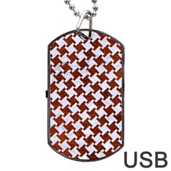 Houndstooth2 White Marble & Reddish Brown Leather Dog Tag Usb Flash (two Sides) by trendistuff