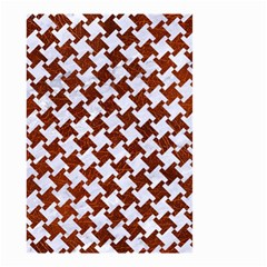Houndstooth2 White Marble & Reddish Brown Leather Small Garden Flag (two Sides) by trendistuff