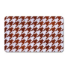 Houndstooth1 White Marble & Reddish Brown Leather Magnet (rectangular) by trendistuff