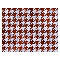 Houndstooth1 White Marble & Reddish Brown Leather Rectangular Jigsaw Puzzl by trendistuff