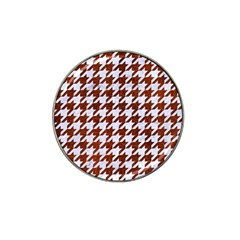 Houndstooth1 White Marble & Reddish Brown Leather Hat Clip Ball Marker by trendistuff