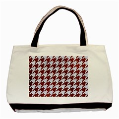 Houndstooth1 White Marble & Reddish Brown Leather Basic Tote Bag