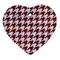 Houndstooth1 White Marble & Reddish Brown Leather Heart Ornament (two Sides) by trendistuff