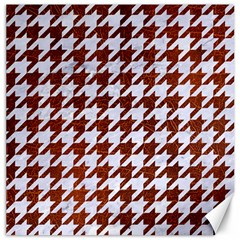 Houndstooth1 White Marble & Reddish Brown Leather Canvas 20  X 20   by trendistuff