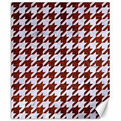Houndstooth1 White Marble & Reddish Brown Leather Canvas 20  X 24   by trendistuff