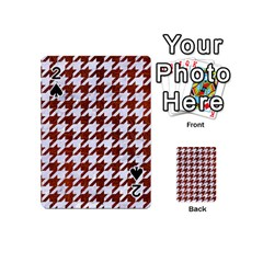 Houndstooth1 White Marble & Reddish Brown Leather Playing Cards 54 (mini)  by trendistuff
