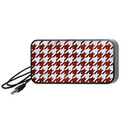 Houndstooth1 White Marble & Reddish Brown Leather Portable Speaker by trendistuff