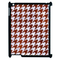 Houndstooth1 White Marble & Reddish Brown Leather Apple Ipad 2 Case (black) by trendistuff