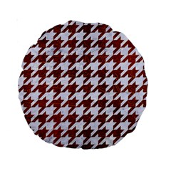 Houndstooth1 White Marble & Reddish Brown Leather Standard 15  Premium Round Cushions by trendistuff