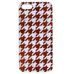 Houndstooth1 White Marble & Reddish Brown Leather Apple Iphone 5 Hardshell Case With Stand by trendistuff