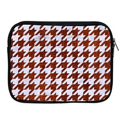 Houndstooth1 White Marble & Reddish Brown Leather Apple Ipad 2/3/4 Zipper Cases