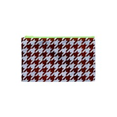 Houndstooth1 White Marble & Reddish Brown Leather Cosmetic Bag (xs) by trendistuff