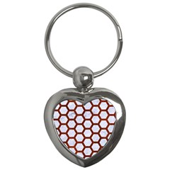 Hexagon2 White Marble & Reddish Brown Leather (r) Key Chains (heart)  by trendistuff
