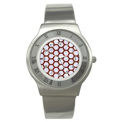 Hexagon2 White Marble & Reddish Brown Leather (r) Stainless Steel Watch by trendistuff