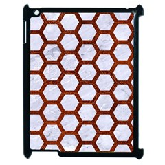 Hexagon2 White Marble & Reddish Brown Leather (r) Apple Ipad 2 Case (black) by trendistuff