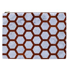 Hexagon2 White Marble & Reddish Brown Leather (r) Cosmetic Bag (xxl)  by trendistuff
